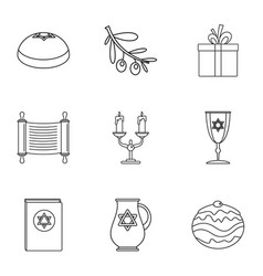 religiosity icons set outline style vector image