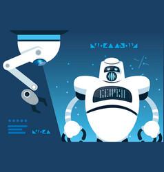 robot cartoon over blue background vector image