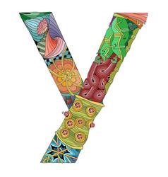 Russian cyrillic letter decorative zentangle vector