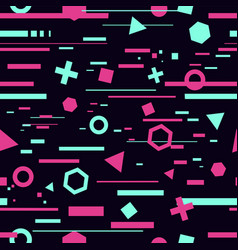 seamless pattern with glitch effect trendy vector image
