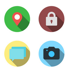 set 4 flat icons - location lock tooltips vector image