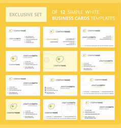 set of 12 fry egg creative busienss card template vector image