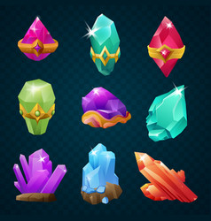 Set of colorful magic energy gems gemstones with vector