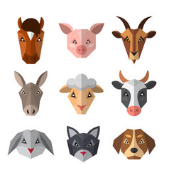 Set of farm animals in low poly style animal icon vector