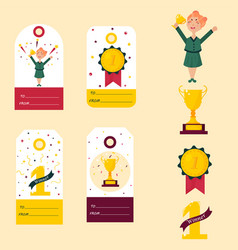 Set of winner tags badges girl with golden cup vector