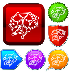 Set shiny icon series on buttons brain vector