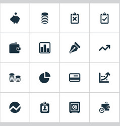 Set simple investment icons vector