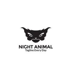Silhouette night animal head logo design vector