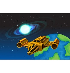 Spaceship flying away from the earth vector