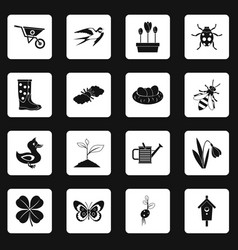 Spring icons set squares vector