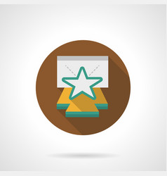 star on stage brown round icon vector image vector image