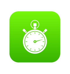 stopwatch icon digital green vector image