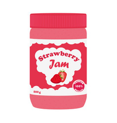 strawberry jam in glass jar made in flat style vector image
