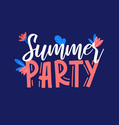 Summer party ad text on blue vector