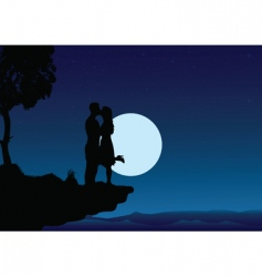 sunset kissing into night vector image