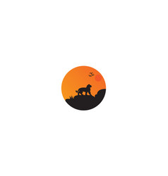 Tiger on night with moon logo design vector