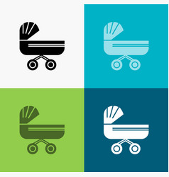 trolly baby kids push stroller icon over various vector image