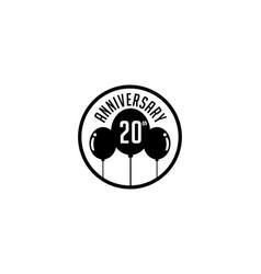 Twenty year anniversary badge vector