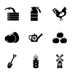 Village farm icons set simple style vector