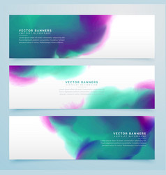Watercolor banner set of three vector
