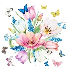 Watercolor spring flowers vector image