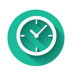 white clock icon isolated with long shadow green vector image
