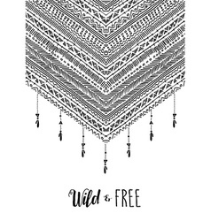 Wild free boho design in black and white vector