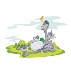 Wolf and Sheeps on Grass vector