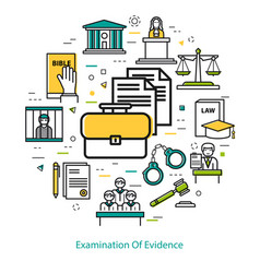 examination of evidence - linear concept vector image