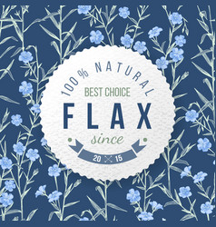 flax round label with type design vector image vector image