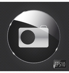 Glass photo button icon on metal background vector image