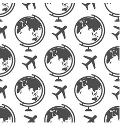 globe and airplane seamless pattern - or travel vector image