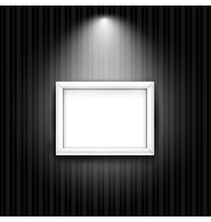 White photo frame on black striped wall background vector