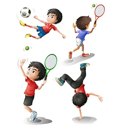 Four boys playing different sports vector image vector image
