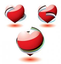 love heart ribbon wrap vector image vector image