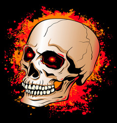 skull with glowing red eyes on a background of vector image