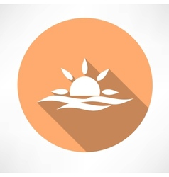 sunset in the sea icon vector image