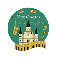 welcome to new orleans poster with famous symbols vector image vector image