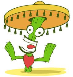jolly cactus in sombrero vector image