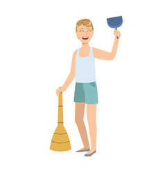 man in sleeveless top and shorts with broom and vector image vector image