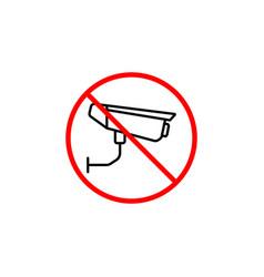 No surveillance line icon no camera prohibition vector