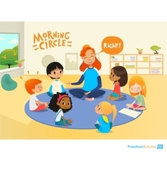Teacher asks children questions and encourage them vector