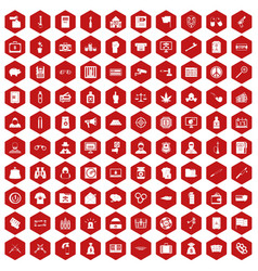 100 criminal offence icons hexagon red vector image