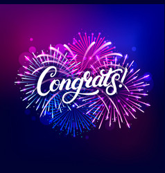 congrats hand written lettering text vector image
