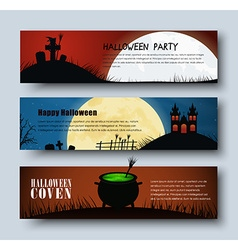 Design Web banners for Halloween vector image vector image
