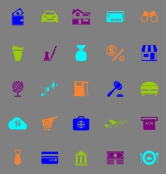 E wallet icons fluorescent color on gray vector image vector image