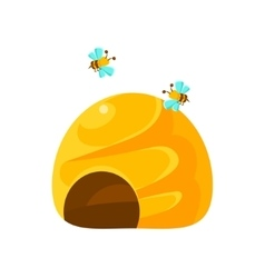Ground Yellow Beehive And Bees Natural Honey vector image vector image