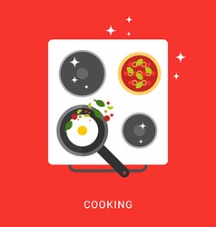 Pan with Fried Eggs on the Cooker Cooking Concept vector image vector image