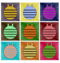 set of flat shading style icons fitball vector image