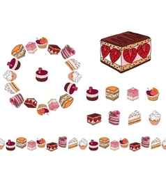 Set with different kinds of dessert Round frame vector image vector image